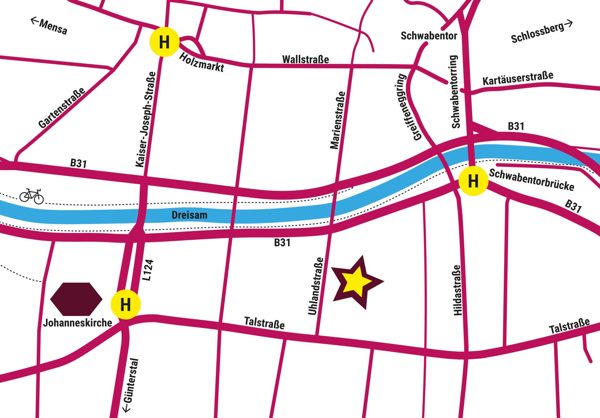 Karte der Umgebung der Uhlandstraße